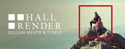 Hall Render logo over a mountainscape